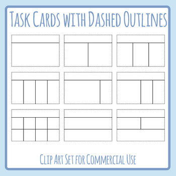 Task Cards with Dashed Outlines for Cutting Clip Art Set Commercial Use