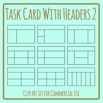 Task Cards with Headers 2 Blank Templates Clip Art Set Commercial Use