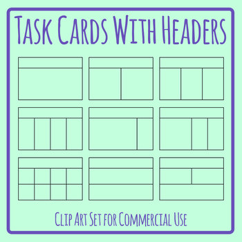 Task Cards with Headers Blank Templates Clip Art Set Commercial Use