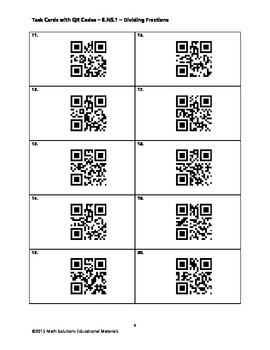 Task Cards with QR Codes - 6.NS.1 - Dividing Fractions