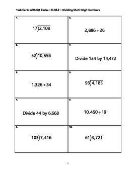 Task Cards with QR Codes - 6.NS.2 - Dividing Multi-Digit Numbers
