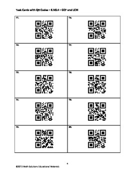 Task Cards with QR Codes - 6.NS.4 - GCF and LCM