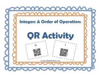 Task Cards with QR Codes - Integers & Order of Operations