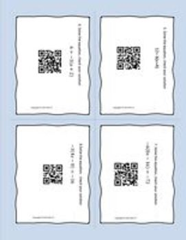 Algebra 1 Multi-step equations - Solving using Task Cards QR Codes