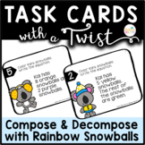 Task Cards with a Twist Rainbow Snowballs Compose Decompos