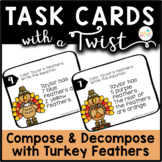 Task Cards with a Twist: Turkey Feathers Compose Decompose to 10 DIFFERENTIATED