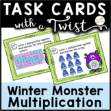 Task Cards with a Twist: Winter Monster Multiplication Jokes-Riddles-QR Codes