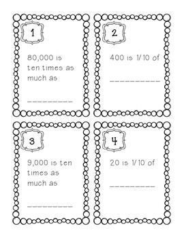 Task Cards/SCOOT: Place Value [Ten times as much and 1/10 of] CCSS 5.NBT.A.1
