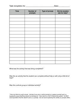 Task Completion Data Sheet