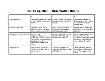 Task-Completion and Organization Rubric