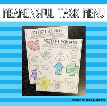 Task Menu - ELA & Math