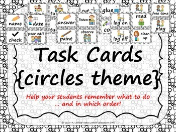 Task Order / Next Step Cards {Circles Theme} -  (Canadian/UK Spelling)
