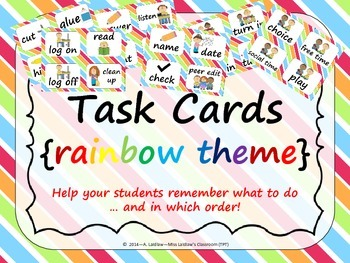 Task Order / Next Step Cards {Rainbow Theme} -  (American Spelling)