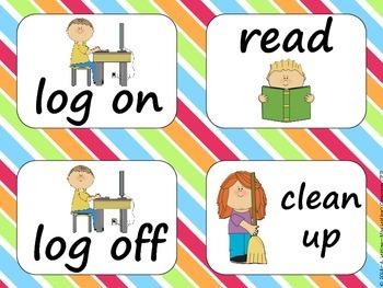 Task Order / Next Step Cards {Rainbow Theme} -  (American Spelling)