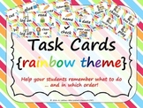 Task Order / Next Step Cards {Rainbow Theme} -  (Canadian/UK Spelling)