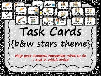 Task Order / Next Step Cards {Stars Theme} black & white -  (American Spelling)