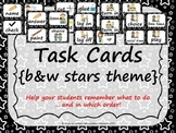 Task Order/Next Step Cards {Stars Theme} black & white -  (Canadian/UK Spelling)