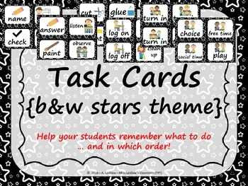 Task Order/Next Step Cards {Stars Theme} black & white -  (Canadian/UK Spelling)