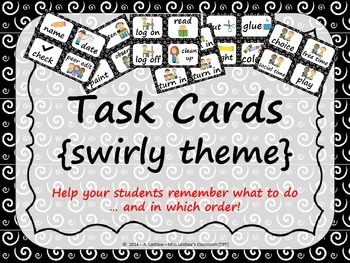 Task Order / Next Step Cards {Swirly Theme} -  (American Spelling)