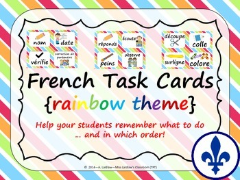 Task Order / Next Step Cards - French {Rainbow Theme}