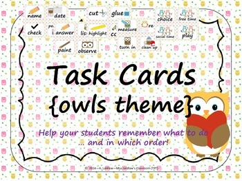 Task Order / Next Step Cards {Owls Theme} -  (American Spelling)