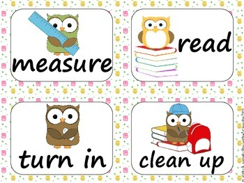 Task Order / Next Step Cards {Owls Theme} -  (Canadian/UK Spelling)