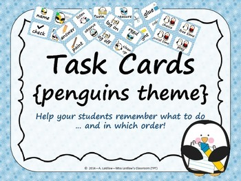 Task Order / Next Step Cards {Penguins Theme} -  (Canadian/UK Spelling)