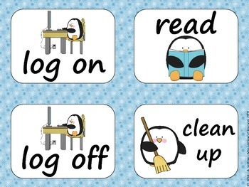 Task Order / Next Step Cards {Penguins Theme} -  (American Spelling)
