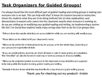 Task Organizers for Guided Groups