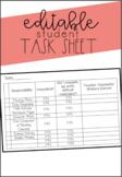 EDITABLE Task Sheet Reward System