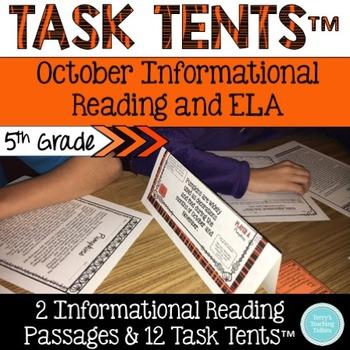 Task Tents™ - October Informational Reading & ELA {5th Grade}