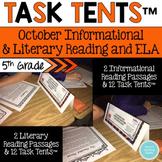Task Tents™ - October Informational and Literary Reading & ELA {5th Grade}