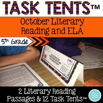 Task Tents™ - October Literary Reading & ELA {5th Grade}