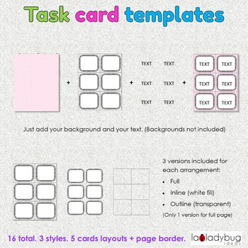 Task card templates. Clip art. Commercial use. Thick doodle border and frames.