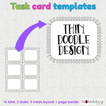 Task card templates. Clip art. Commercial use. Thin doodle border and frames.