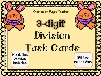 3-digit Division Cards - 40 task cards