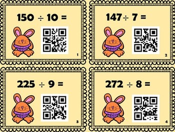 3x1-digit Division Cards with QR codes