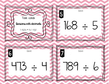 Task cards - Divisions with decimals