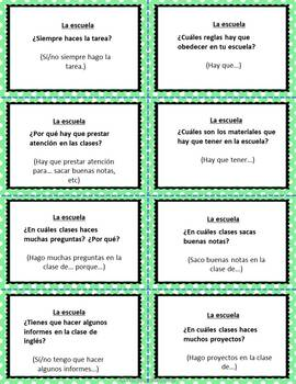 FREEBIE Speaking cards LA ESCUELA REGLAS Spanish 2 (Realidades 1A)