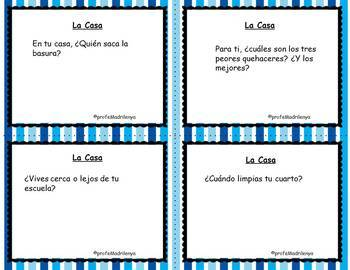 Speaking cards- La casa quehaceres / house chores (Realidades Spanish 1 6A 6B)