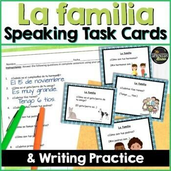 Speaking cards- La familia family (Realidades Spanish 1 5A)