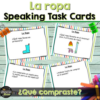 Task cards- La ropa clothing (Realidades Spanish 1 7A 7B)