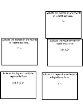 Task cards Logarithms