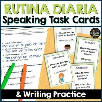 Speaking cards RUTINA DIARIA routine, reflexive verbs Spanish 2 (Realidades 2A)