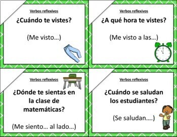 Speaking cards Reflexive verbs clothing ropa (Realidades Spanish 1 or 2)