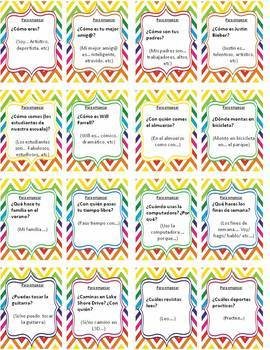 Spanish 2 Speaking task cards Review