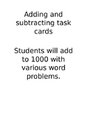 Task cards addition to 1000