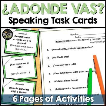 Task cards adonde vas lugares Spanish 1 (Realidades 4A)