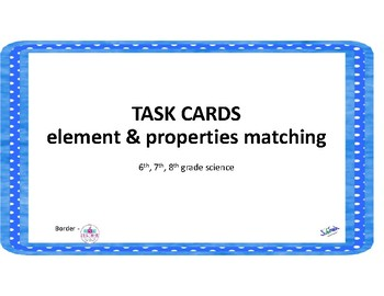 Task cards: elements and their properties