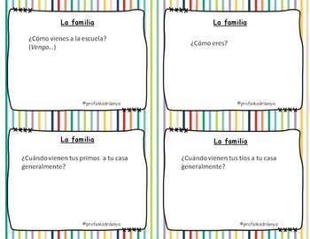 Speaking cards family, ser, estar, venir present tense (Realidades Spanish 1 5B)